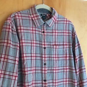 Roots Tops - Roots gray red cream plaid flannel shirt Small
